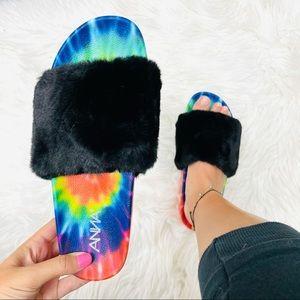 Tie dye fur platform sandal